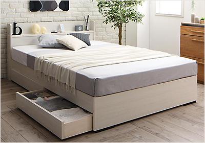 人気第7位!工具不要!組み立て簡単引き出し付き収納ベッド【LCM】