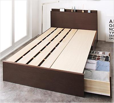 人気第9位!耐荷重600kg!頑丈設計の引き出し付き収納ベッド【RHN】