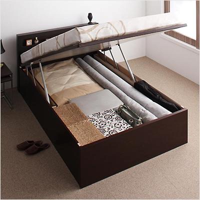 人気第1位!スタイリッシュ・ヘッドボード付き大容量収納跳ね上げ式ベッド【GRL】(縦開き)