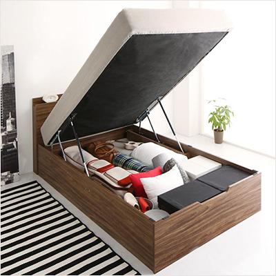 人気第2位!マットレス一体型床板付き跳ね上げ式収納ベッド【LUB】(縦開き・ヘッドボード付き)