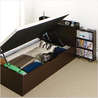 人気第5位!本棚付き!ガス圧跳ね上げ式大容量収納ベッド【BTI】(横開き)