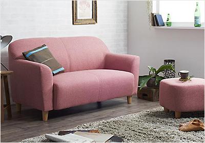 <コンパクトで丸みのある可愛いソファ【LNA】2人掛け